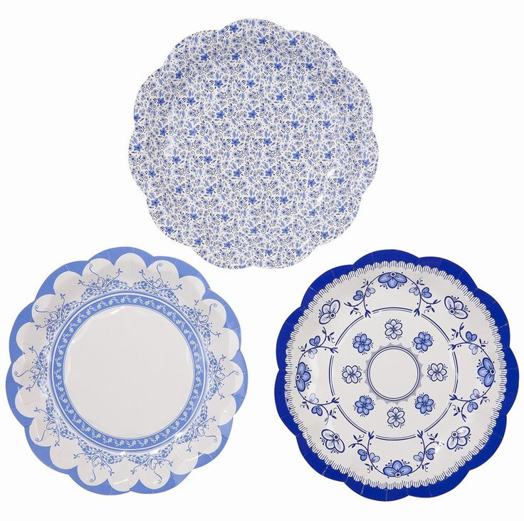 This party porcelain is in fact paper! No fine china required!  Our paper plates are cleverly created with decorative blue and white designs normally only seen on fine crockery.  Size: 27cm diameter