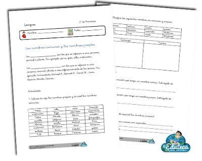 RECURSOS PRIMARIA | Ficha sobre los nombres comunes y nombres propios ~ La Eduteca