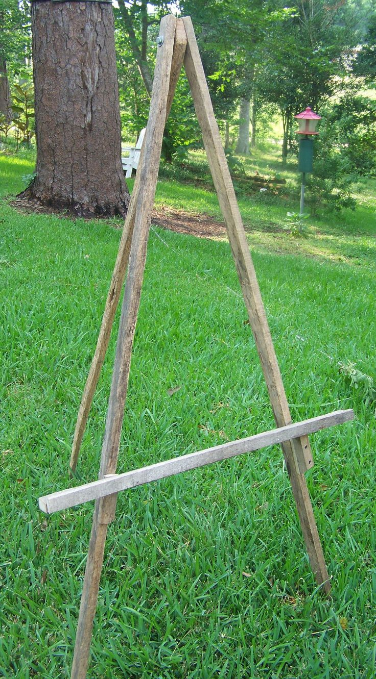 Rustic Tobacco Stick  Easel. $60.00, via Etsy.