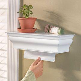 Hidden paper towel shelf