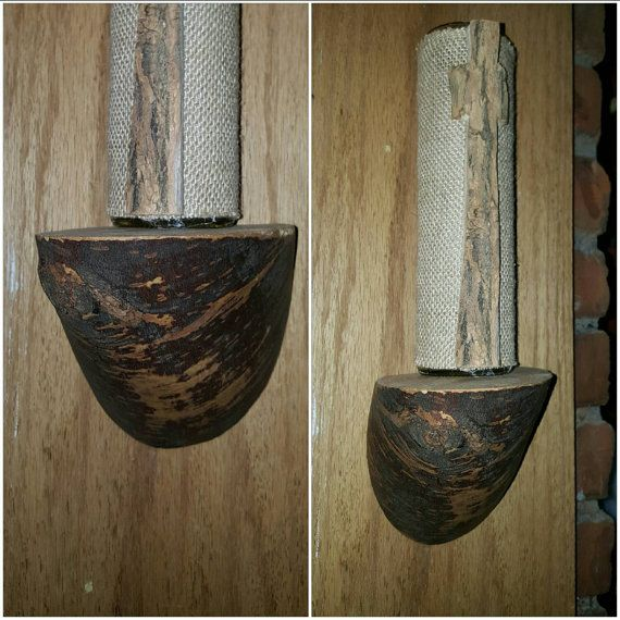 Log Sconce with keyhole hangers  Live edge by ThePetrifliedWood