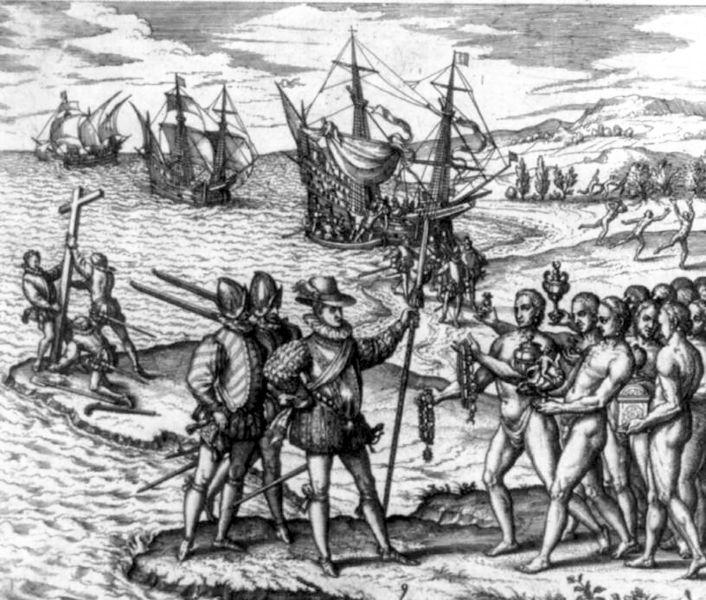 In 1492 vertrok Columbus met zijn bemanning naar Indië ( nu Azië ). Hij vaart richting het Westen, deze vaarroute was nog niet bekend.  Zonder te weten komt hij aan op een nieuw continent, Amerika. Hij noemt de inwoners Indianen ( hij dacht dat het Indië was). Indianen: oorspronkelijke bewoners van Amerika. Locatie: de Bahama's