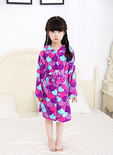 c789bbfab LANTOP Plush Pajama Kids Nightgown Super Soft Sleepwear Cotton Cosplay Robe