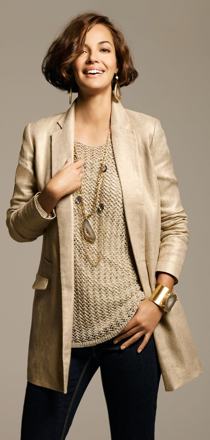 Beige is not generally my thing. But I love the way the tunic and blazer are exactly the same color but have such different textures.