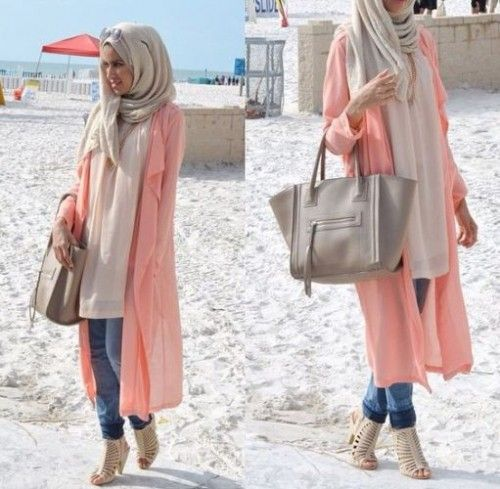 peach long cardigan spring style, How to get hijab trendy looks…