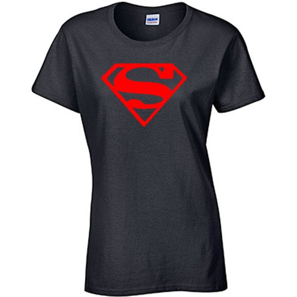 Classic Superman Women's Tee ($14) ❤ liked on Polyvore featuring tops, t-shirts, red, women's clothing, red top, red t shirt and red tee