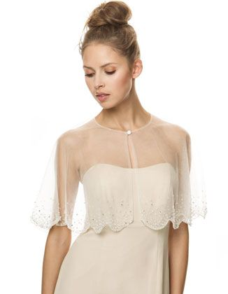 Scalloped netting ivory cape with beading from Bari Jay.