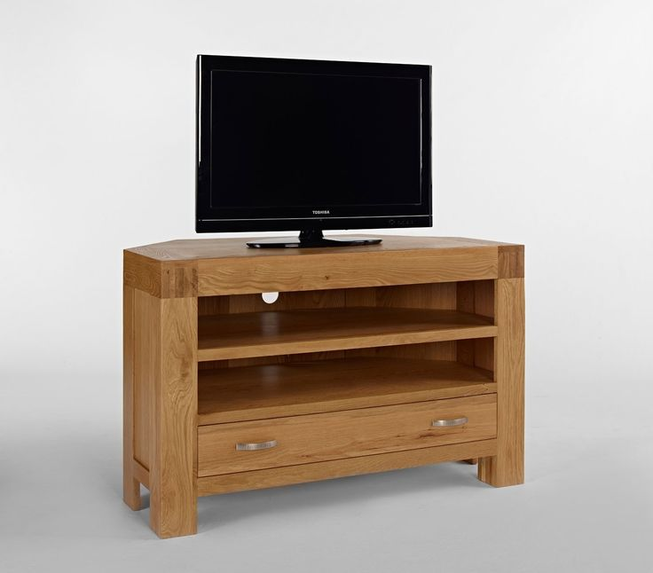 Santana Blonde Oak Corner TV Unit - The Santana Blonde Oak Corner TV Unit is from the Satana Blonde Oak Furniture Range. This range is crafted from reclaimed light oak which has it's own unique patina and grain patterns.