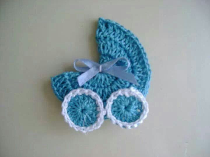 Crochet Baby Shower Favors To Make ~ Baby carriage applique no pattern but looks simple
