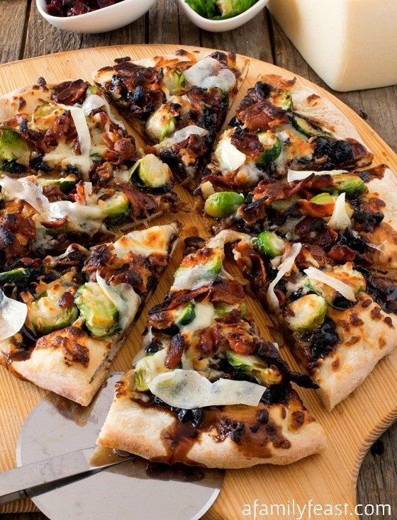 A brussles sprouts and bacon-packed pizza. | 13 Fancy Pizzas You Can Actually Make At Home