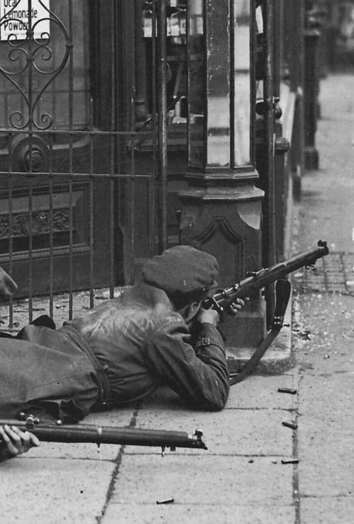An image from the Irish Civil War. The Irish Civil War (Irish: Cogadh Cathartha na hÉireann; 28 June 1922 – 24 May 1923) followed the Irish War of Independence and accompanied the establishment of the Irish Free State; an entity independent from the United Kingdom but within the British Empire.