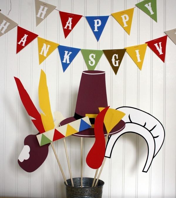 Thanksgiving Photo Booth Props Printable - DIY printable / downloadable pdf thanksgiving
