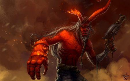 Hellboy - game, fantasy, horns, red, Hellboy, art
