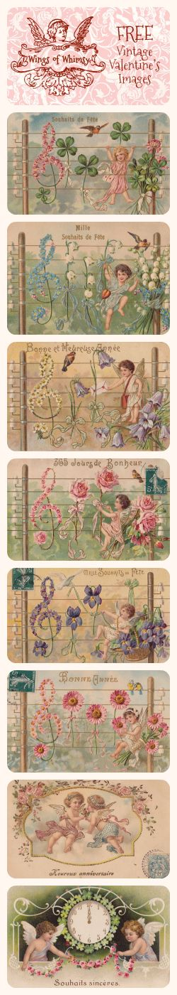 Wings of Whimsy: Vintage French Valentine's Images - free for personal use #vintage #ephemera #valentine #printable #freebie