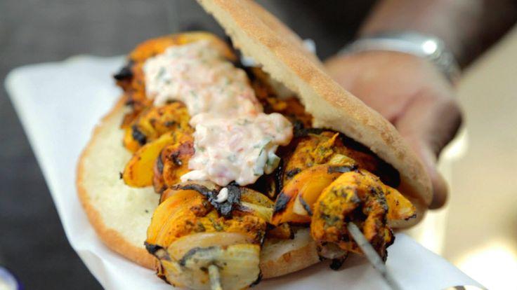 Marinated chicken kebabs with preserved lemon and harissa yoghurt dressing (djej…