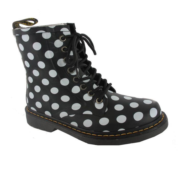 Buy | Dr Martens Wellington Drench 8_Eye Boot in Black and White Spots