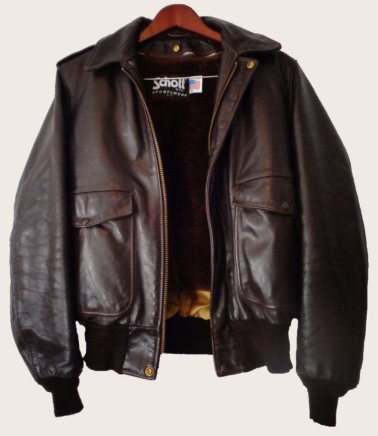 Schott Brown Leather A-2 Bomber Jacket Men's Size 40 ...