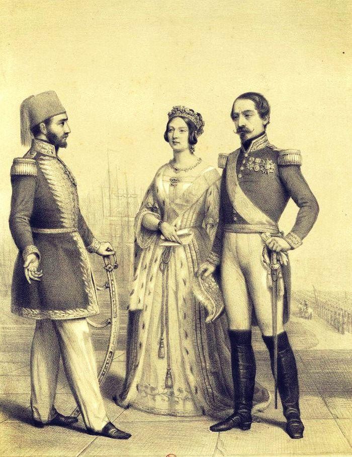 1. Abdülmecit 1839 - 1861. Titre :  Le sultan Abd-UI-Medjid, la reine Victoria et Napoléon III, en pied, le sultan de profil à dr., ses deux alliés de tr. q. à g. : [estampe]