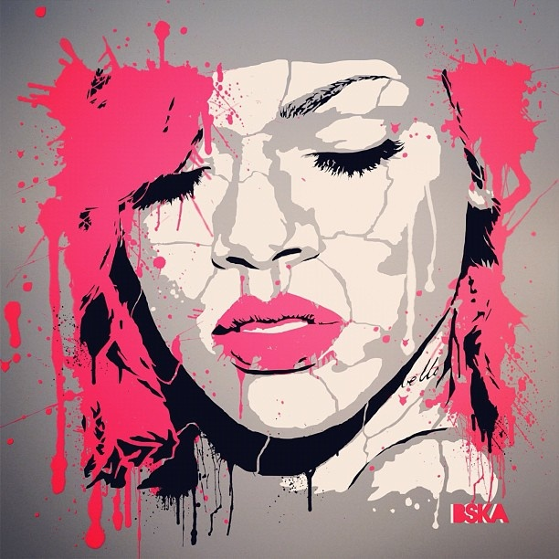 Bska rihanna stencil stencil art pinterest more for Printable stencils for canvas painting