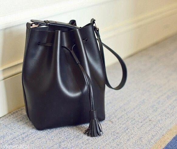 本牛革 レザー ショルダーバッグ Bucket Bag BLACK【受注製作】