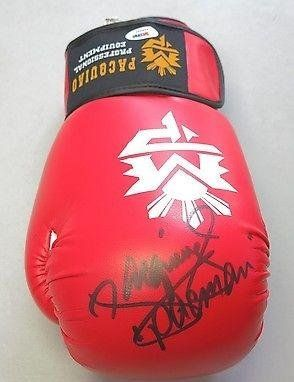 Y68995 Boxing Champion Manny Pacman Pacquiao Signed Glove AUTO Signature - PSA/DNA Certified - Autographed Boxing Gloves @ niftywarehouse.com #NiftyWarehouse #PacMan #VideoGames #Pac-man #Arcade #Classic