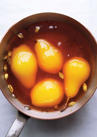 "Poached Pears with Cardamom and Saffron ""This is the magic of saffron,"" Ottolenghi says of one of the simplest recipes included in the new book. ""A few ingredients manage to give the pears an almost regal look that's quite spectacular."""