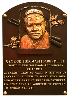 """George Herman """"Babe"""" Ruth played baseball for the New York Yankees during the 1920s. He hit 61 home runs during the 1927 season to break the record, one that held for 34 years. This site links to Babe Ruth's page at the Baseball Hall of Fame in Cooperstown, NY and includes a brief biography, links to stats, and his hall of fame induction speech."""