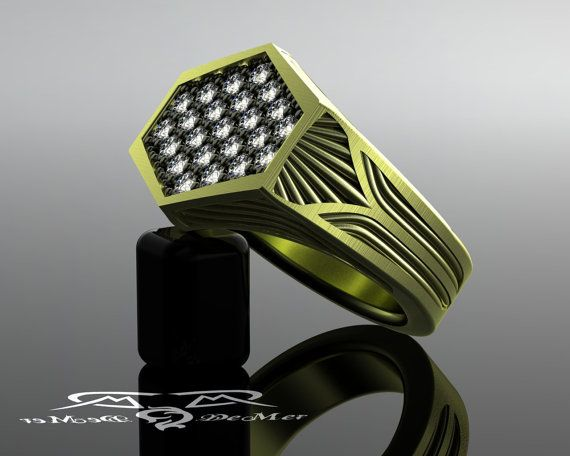 Art Deco LA Noire Mens diamante anello. Los di DeMerJewelry