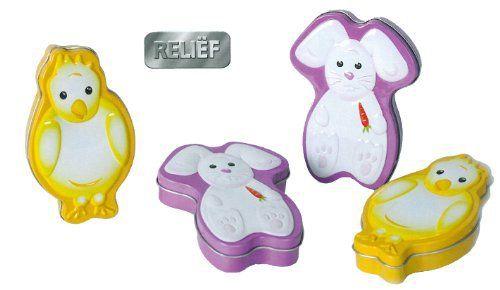 Boîtes à friandises Motif œufs de Pâques en forme de lapin de Pâques et de Pâques boîtes métalliques (lot de 2) à un très bon prix + P & P:…