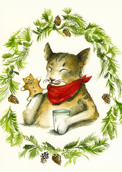Christmas cards, holiday cards- cat cards, Gingerbread Kitties,  all occasion, card set. $10.00, via Etsy.