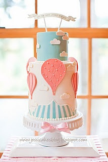 hot air balloon cake! great colors. love the clouds with the balloons.