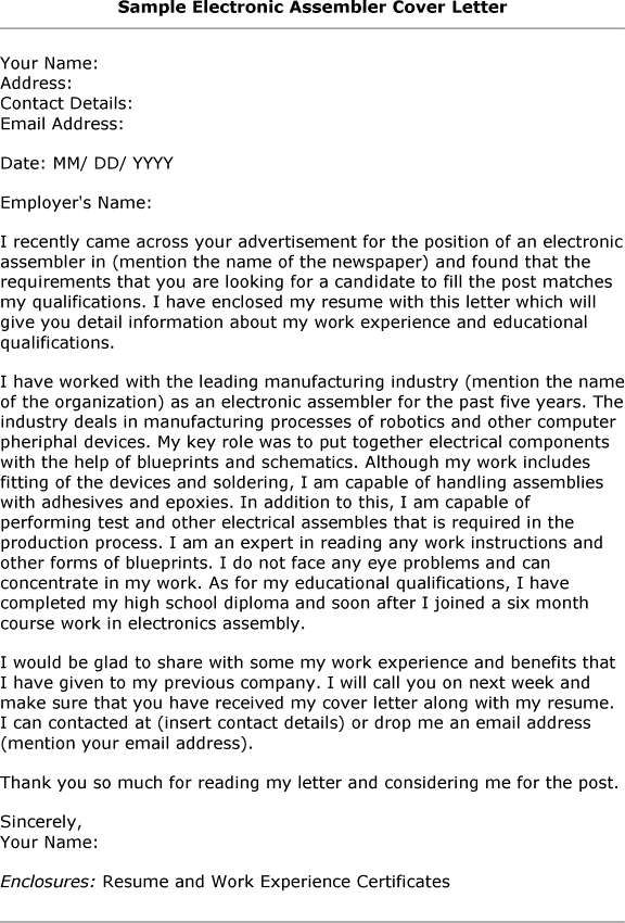 Electronic Assembly Resume ELECTRONIC ASSEMBLER COVER