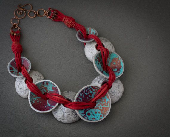 boho necklace  silver boho necklace  vintage polymer clay necklace romantic necklace  gift for her gif for woman