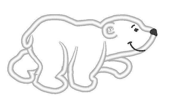Polar bear / white bear machine embroidery applique von artapli