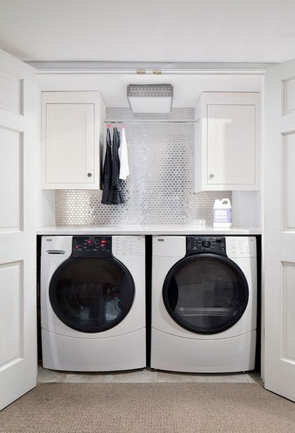 disco ball wall in my laundry closet?!  | transitional laundry room by Clean Design via Houzz