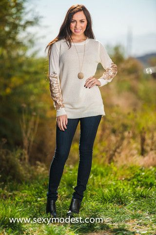 Touch of Sparkle Sweater- The perfect touch of sequins. www.sexymodest.com Follow us on instagram @modestshoppin