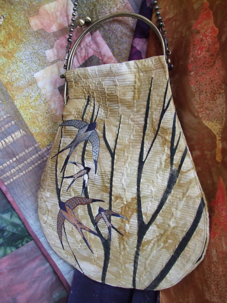 Beautiful swallows on bag by Linda Kemshall
