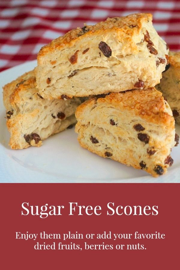 Sugar Free Scones - A versatile recipe for sugar free scones to which you can add dried fruits, nuts or even frozen berries to create many favorite versions. Replace with vegan butter and milk.