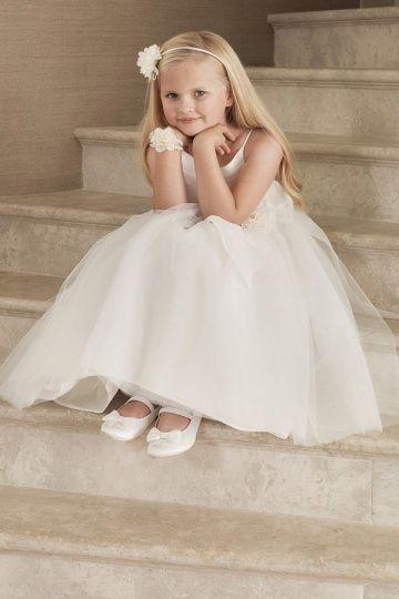 Semplice Carino Fiori Fatti a Mano Abito Da Cerimonia Bambina Stile A Line
