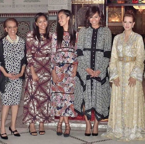 First Lady Michelle Obama, mother Marian and daughters with Morocco's Princess Lalla Salma,