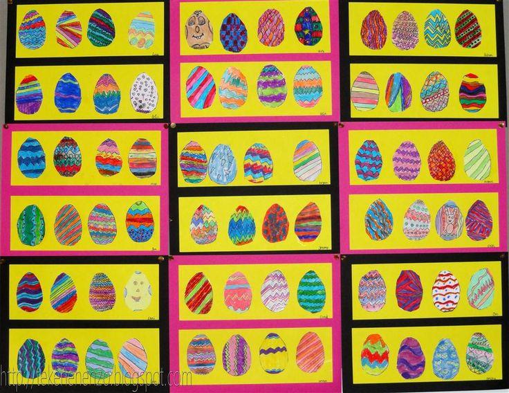 Door Sam, groep 5 Benodigdheden: kartonnen mal van een ei-vorm 10 cm hoog potlood wit tekenpapier verschillende kleurmaterialen, zoals ...