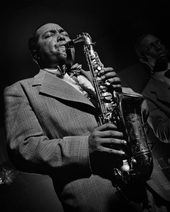Legendary photographer Herman Leonard captured rare moments of jazz icons, like this stunning portrait of Charlie Parker at work. See more at BrainPickings.org
