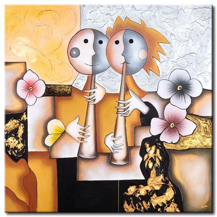 Cuadro pintado sobre leinzo Músicos es otro ejemplo de Arte Caprichosa. ¿Sólo es adecuado para habitación de un niño? No creo ツ