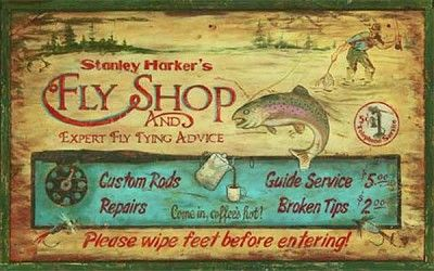Harker's Fly Fishing Shop Antiqued Wood Sign