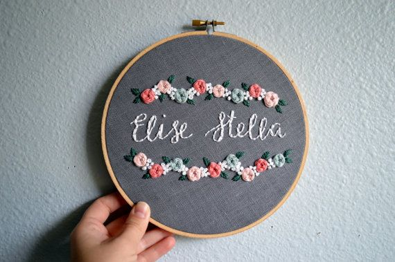 Custom Name Embroidery Hoop, Baby Name Embroidery, Birth Announcement, Nursery Wall Art, Baby Shower Gift, Floral Needlepoint Sign
