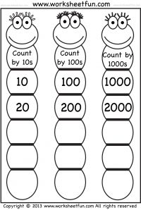 Skip Counting Worksheets.  good for learning to quickly add 10 or 100 for double digit addition