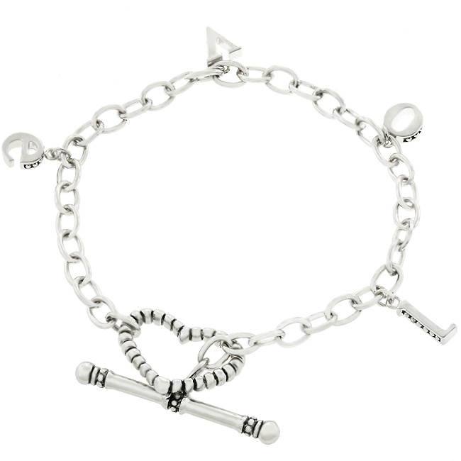 White Gold Rhodium Bonded LOVE Charm Bracelet with Toggle Clasp in Silvertone    LOVE Charm Bracelet is a one word bracelet that can express a thousand words of sentiment when adorned around your wrist. White Gold Rhodium Bond is achieved using an electroplating process that coats the item with heavy layers of rhodium a close cousin of platinum that costs three times as much which gives our jewelry a platinum luster.