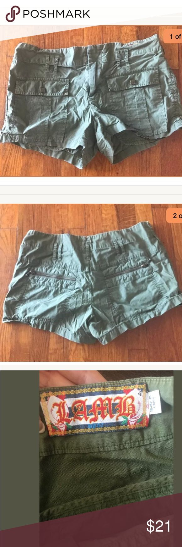 L.A.M.B Lamb Gwen Stefani green Army Shorts Size 4 Wore a couple times no rips tears or stains L.A.M.B. Shorts