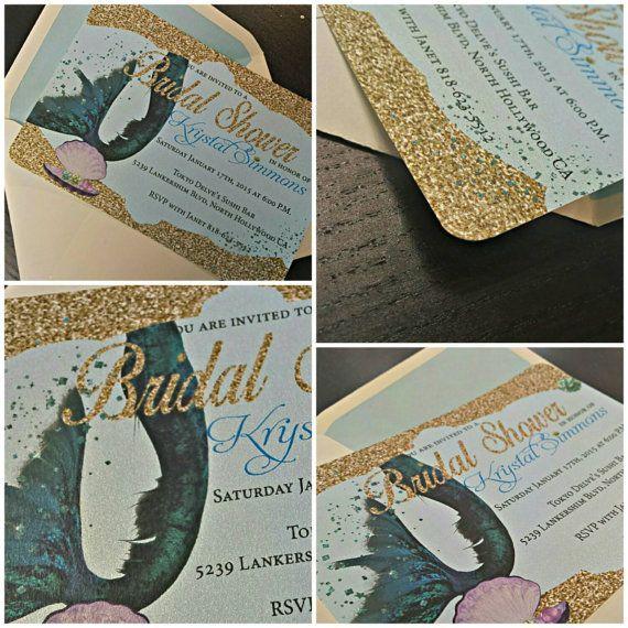 Mermaid Bridal Shower Invitation  Mermaid by AmiraDesign on Etsy