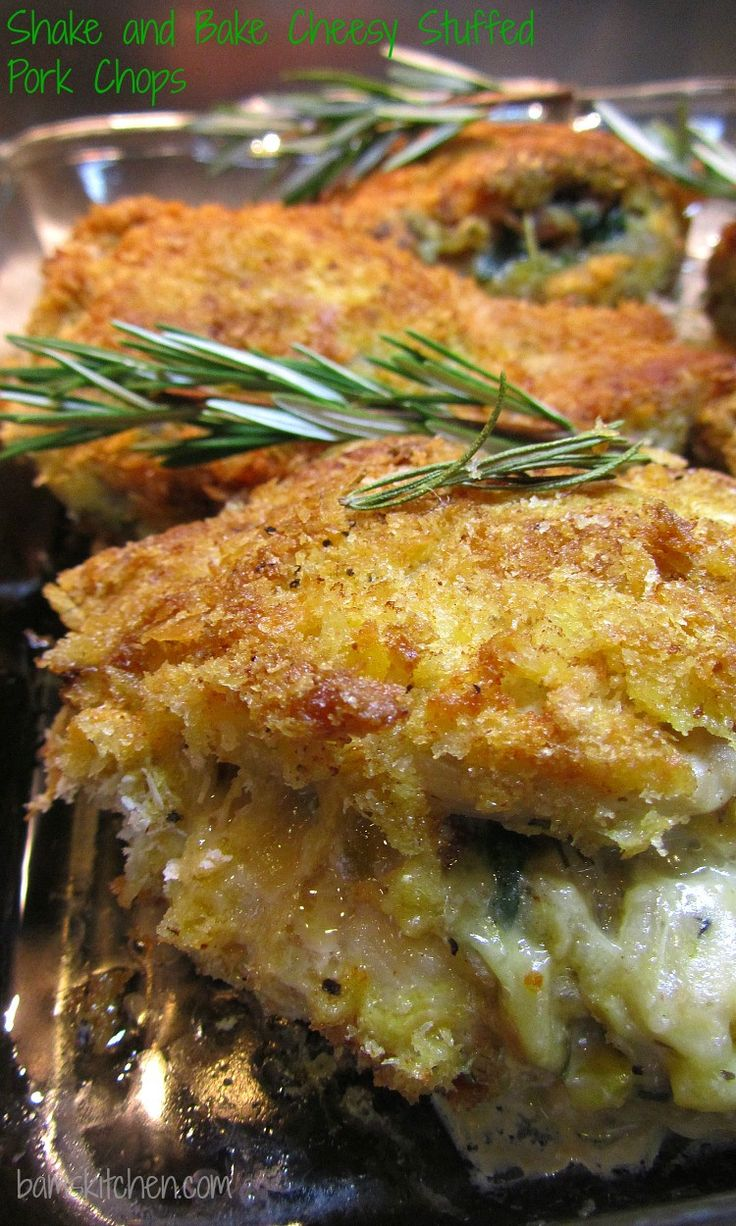 Shake and Bake Cheesy Stuffed Pork Chops Recipe ~ Thick bone in pork chops stuffed with brown rice, fresh spinach, bacon and melty cheese and then dipped in seasoned pank0 breadcrumbs and baked to perfection